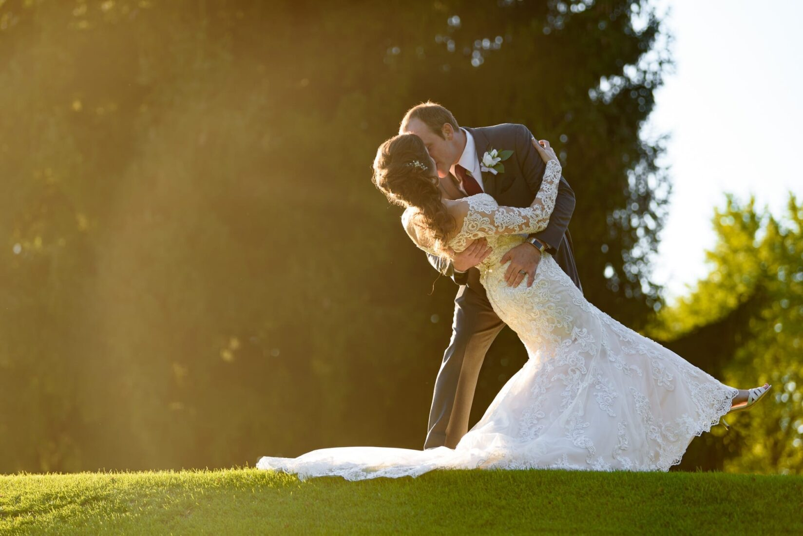 Bride and Groom golf course portraits